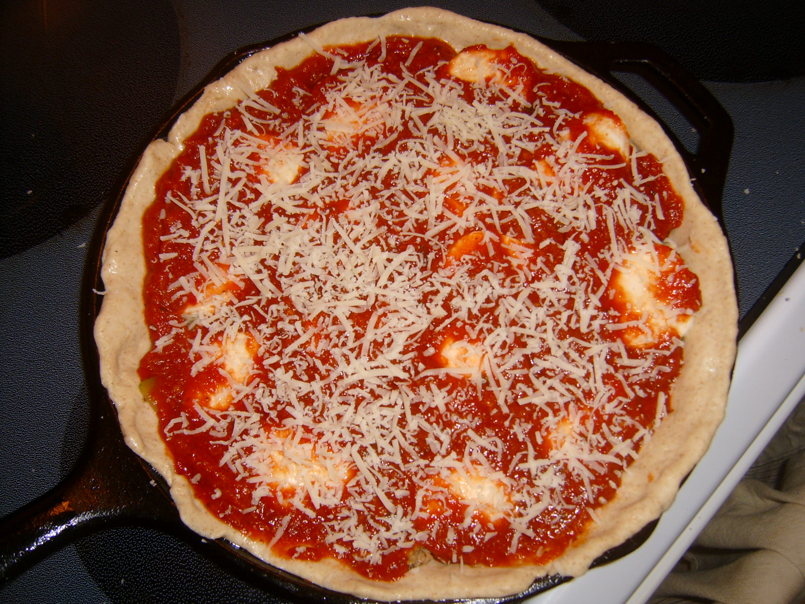 Pizza sauce and cheese