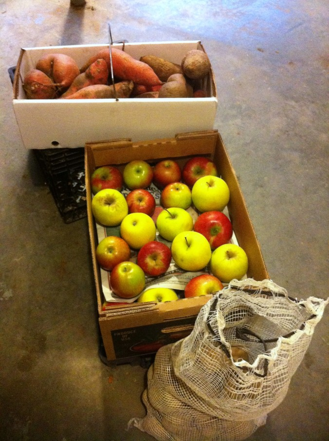 sweet potatoes and apples for storing